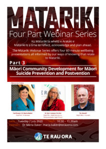 Matariki Webinar Series (Part 3) - Māori Community Development for Māori Suicide Prevention and Postvention @ Zoom Online